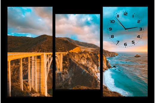 Модульная картина с часами Мост