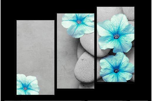 Модульная картина Голубые цветы на камне
